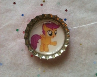 Pink My Little Pony Scootaloo Bottle Cap Pendant or Key Chain or Magnet