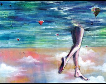 "Surreal Art - Ocean Art Print - Mixed Media Art with Digital Collage - ""Cloud Walking"" by Black Ink Art"