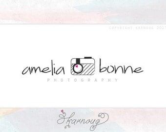 Premade Photography Logo, Hand drawn Camera Sketch, Custom Logo
