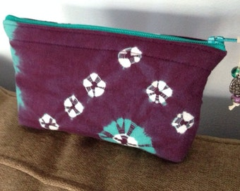 Plum tie dyed pouch
