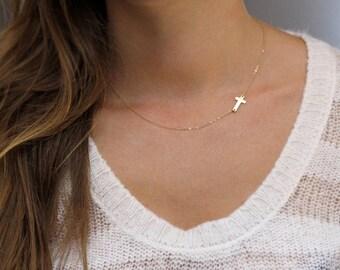 Sideways Cross Necklace, Celebrity Necklace, Cross Necklace, Sideways Cross, Gold Necklace, Simple Necklace, Celebrity Jewelry, Cross