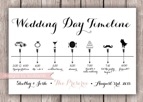 Custom Wedding Timeline 5x7 Digital File