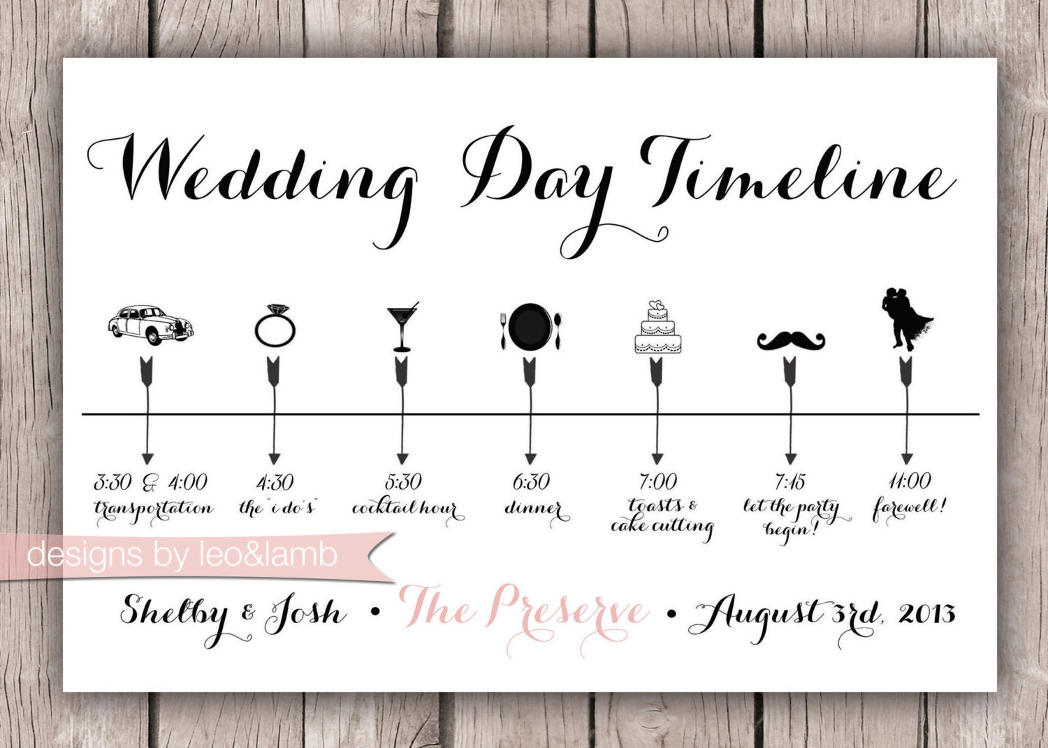 Custom wedding timeline 5x7 digital file zoom junglespirit Images