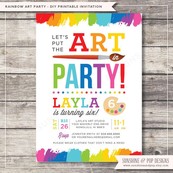 Unavailable listing on etsy for Free art party invitation templates