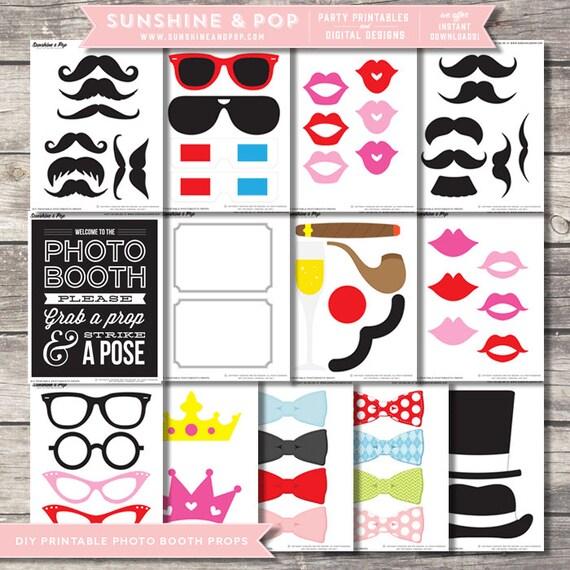 SALE - INSTANT DOWNLOAD - Diy Printable Photo Booth Props - Printable Photobooth - Mustache printable party sign wedding prop