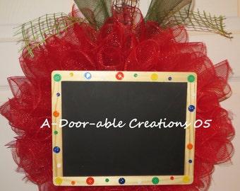 APPLE/ with Large CHALKBOARD Deco Mesh Wreath...Teacher Gift