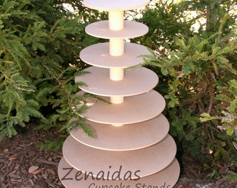 Cupcake Stand 8 Tier MDF Wood Unpainted Cupcake Tower Wedding Birthday Display Donut Stand