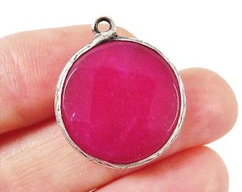 22mm Hot Fuschia Pink Faceted Jade Pendant - Matte Silver plated Bezel - 1pc