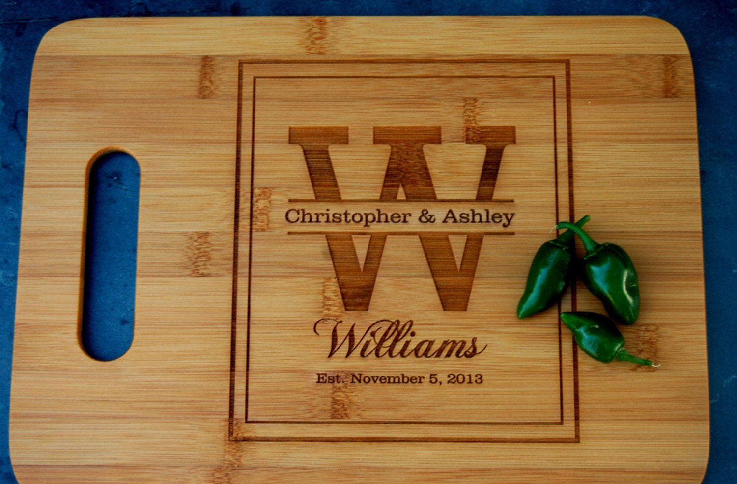 Engraved Wedding Gift Ideas : Personalized Cutting Board Custom Wedding Gift Engraved