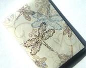 Passport Cover Holder Case -- Dragonflies on Cream Background