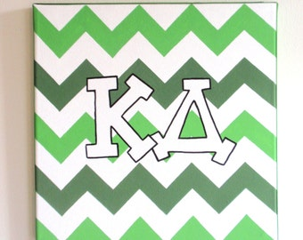hand painted Kappa Delta letters outline with chevron background 12x12 canvas OFFICIAL LICENSED PRODUCT