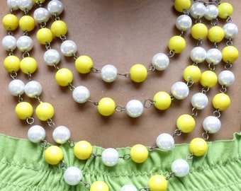 Yellow Pearl Glass Beaded Layered Briolette Bib Bubble Statement Necklace