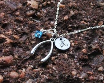 Personalized Wishbone Initial Necklace - Wishbone Charm Necklace - Christmas Gifts - Personalized Engraved Jewelry