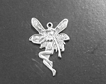 Fairy Sterling Silver Charm,  Cute Fairy or Pixie charm 1 Inch 925 Sterling Silver Fairy Charm- SP30