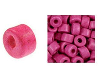 100 Mykonos Mini Tubes, 6mm X 4mm Bright Pink Greek Ceramic Spacer Beads  (SKU#CT1#20)