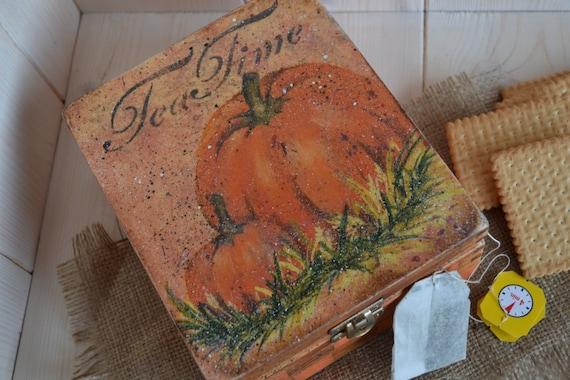wooden box for tea or cookies !SALE!! The Spicy Pumpkin- Vintage  Tea Box, wooden Tea caddy,  kitchen storage,