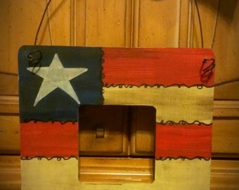 Hand Painted Country Americana picture frame / American Flag / Primitive