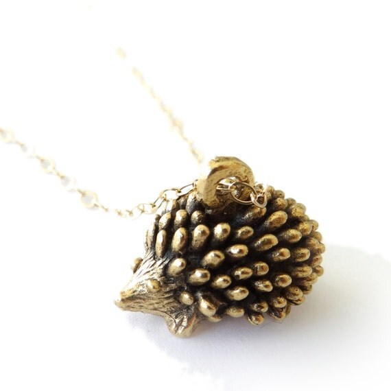 Hedgehog Necklace, Gold Necklace, Minimal Necklace, Layer Necklace, Woodland Animal, Landon Lacey, Porcupine Necklace, Layering Jewelry