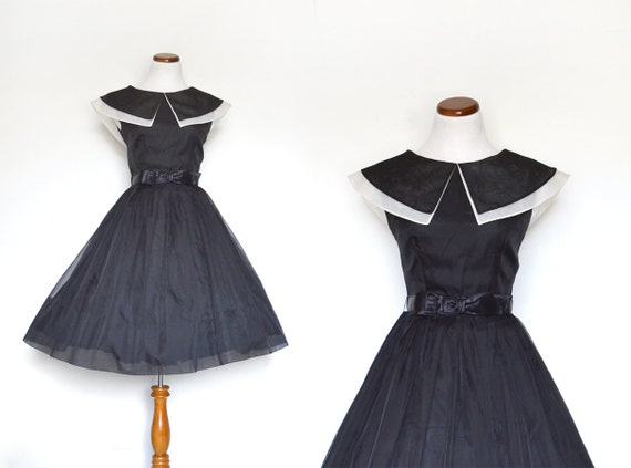 50s Party Dress / Black Dress / 1950s Dress / Small Dress / Bow Dress / Little Black Dress / Vintage Clothing / Women Dresses