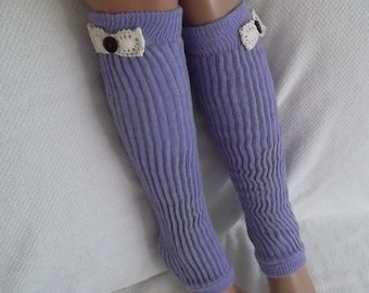 Leg Warmers Boot Socks Machine Knit Lace Trim Buttons-lilac