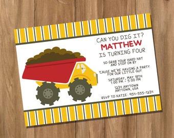 Dump Truck Birthday Party Invitation (Digital - DIY)