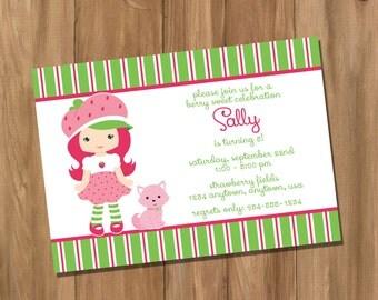 Strawberry Shortcake Inspired Strawberry Girl Birthday Party Invitation (Digital - DIY)