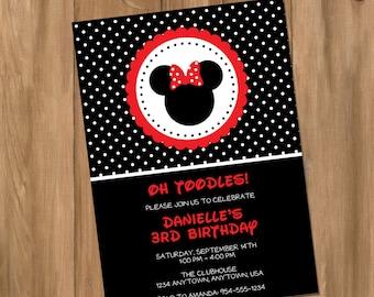 Minnie Mouse Inspired Minnie Girl Birthday Party Invitation (Digital - DIY)