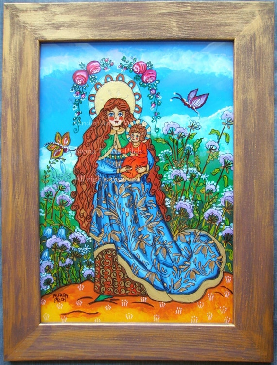 Madonna among the flowers acrylic glass painting picture folk nursery art spring summer Virgin Mary Jesus baby child Christ Mother of God