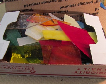 2 Lbs Art Glass Scrap from Stained Glass Studio all colors mfg sizes Mosaic or small suncatchers