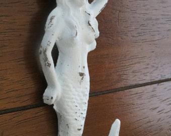 Mermaid cast iron hook/ Pale Blue color/ Beach Cottage Coastal Shabby Chic /Metal wall hook /Bathroom hook /Nursery/Bathroom