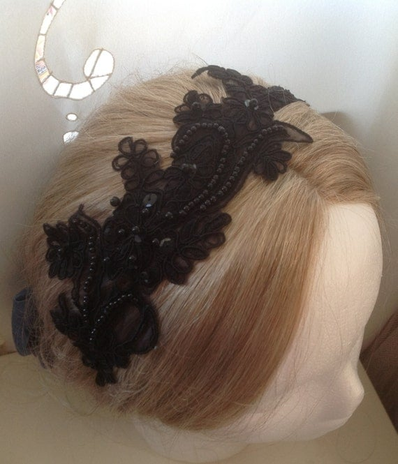 Giselle: Black Embroidered pearl sequin lace flower Headband - also available in White, Ivory, Plum, and Champagne Gold