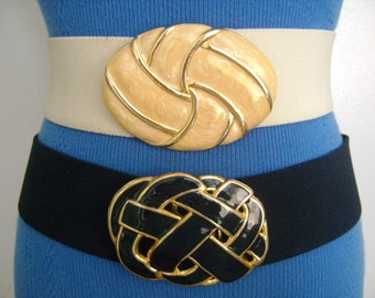 2Retro DAY-LOR USA Accessories Off White/Cream & Navy Blue Colors Elastic Stretch Belts with Goldtone Enameled Swirl Enamel Buckles Fits M/L