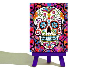 Halloween - Day of The Dead Sugar Skull - Mini Canvas and Easel Set -The Perfect Gift