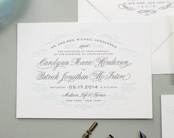Letterpress Wedding Invitation on Thick Paper with Edge Painting, Flourish Deisgn, Elegant Letterpress Invite | DEPOSIT | Sophisticate