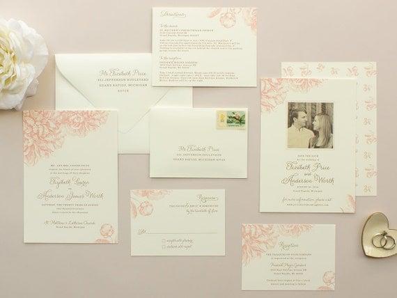 Rosa Pfingstrosen, Hochzeit, Einladung, Vintage Blumen Illustration,  Pfingstrose Einladungen, Rosa Hochzeiten, Romantische Hochzeit Laden Probe  | Buchwurm