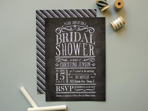 Chalkboard Invitation, Chalk board Bridal Shower Invite (set of 20 ...