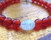 tomato red agate & moonstone bracelet/vegan bracelet/stacking bracelet/bohemian bracelet/chakra bracelet/energy bracelet/june birthstone - earthwatersol