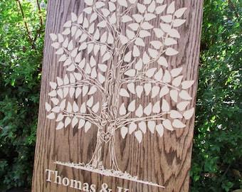 Wooden Guest Book Oak Tree -175, 200 signatures