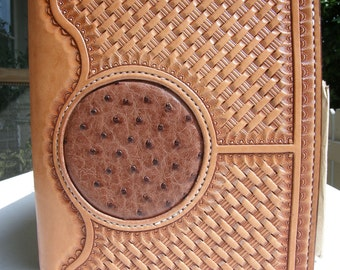 Hand Tooled Leather Notepad Cover/ Leather Notepad Holder/ Leather Portfolio