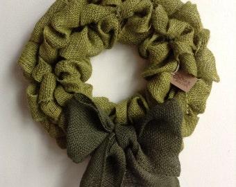 Woodland Wreath, St Patricks Day Wreath, Fall Wreath, Green Wreath, Green Burlap Wreath, Bubble Wreath, Burlap Christmas Wreath