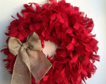 "Christmas Wreath, 26"", Red Christmas Wreath, Burlap Valentines Wreath, Red Wreath, Burlap Wreath, Holiday Red Burlap Wreath"