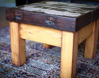 ZABUMBA side / coffee table from reclaimed wood beam