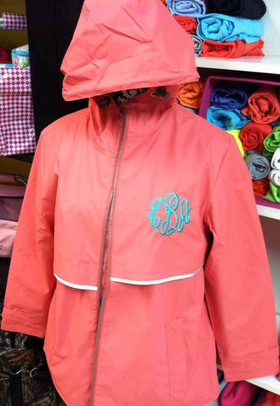 Thanksgiving Sale CORAL Monogrammed Rain Jacket Monogrammed