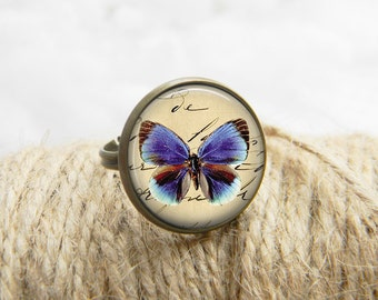 Butterflies Ring Art Butterflies Jewelry  Print Photo Ring Gift For Her (001)
