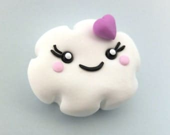 2x KAWAII* Cloud clip-on earrings