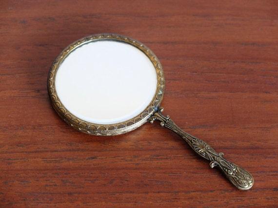 Ancien petit miroir de poche main ann es 20 1920 for Miroir de poche ancien
