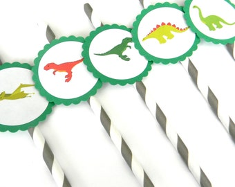 12 Dino Party Straws