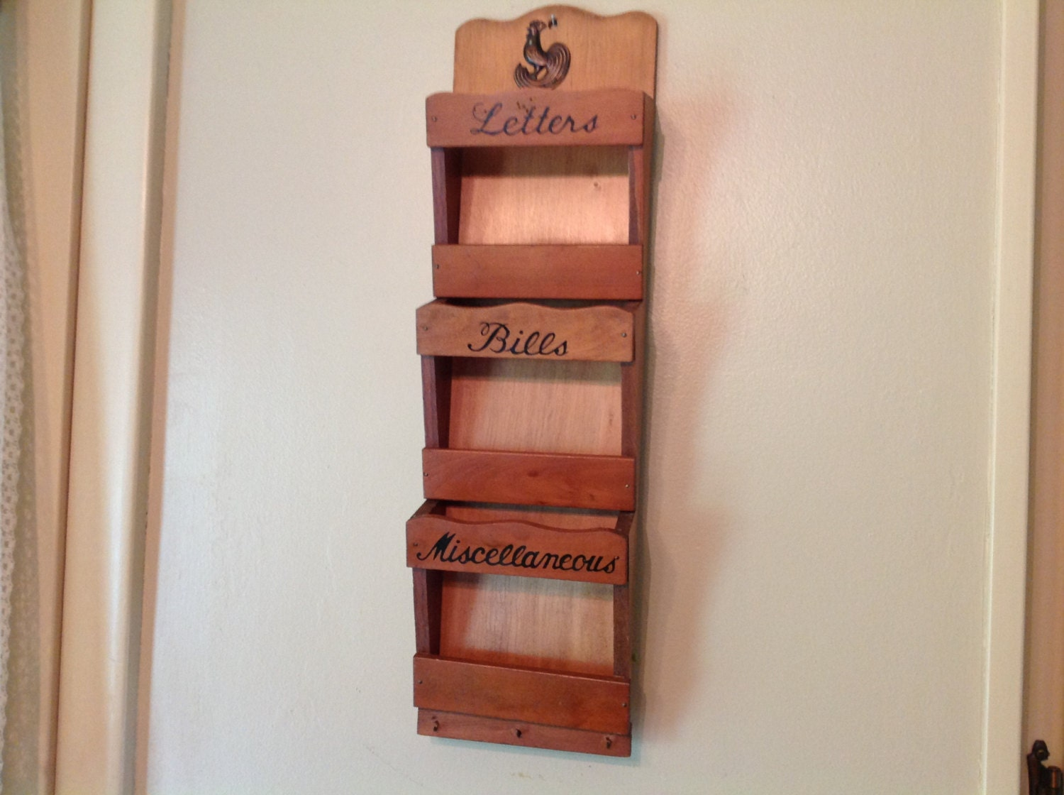Wood wall mail organizer and key holder with by michelleshouse - Key hook and mail holder ...
