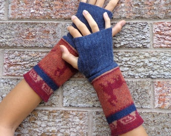 Wool Arm warmers, Upcycled fingerless gloves, made from a felted lambswool sweater - rust, navy and cream