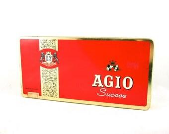 Red Metal Cigar Tin Box with Hinged Lid Cigarette Tin Desk Organizer Dutch Agio Tin